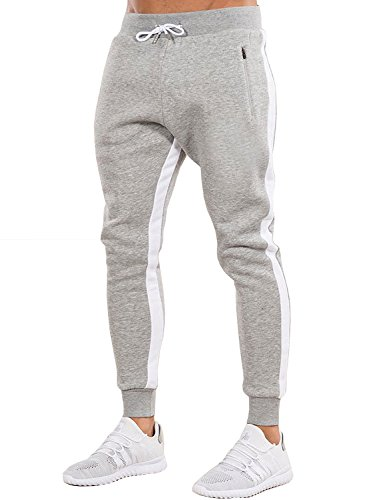 Ouber Men's Gym Jogger Pants Slim Fit Workout Running Sweatpants with Zipper Pockets (L, Grey)