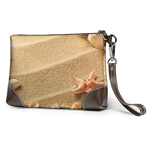 XCNGG Bolso de mano con estampado de arena de concha de playa, bolso de mano de cuero desmontable para mujer