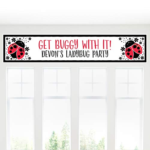 Big Dot of Happiness Personalized Happy Little Ladybug - Custom Baby Shower or Birthday Party Decorations Party Banner