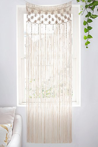 "Mkono Macrame Curtain Wall Hanging, Doorway Window Curtains Handwoven Wedding Backdrop Arch, Closet Room Divider Boho Wall Decor, 29"" W x 80"" L"
