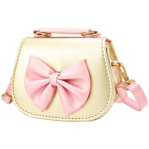 INSOUR Kinder Handtasche, Umhängetasche, mit Schleife, für Kinder Mädchen 3-12 Jahre (Golden)