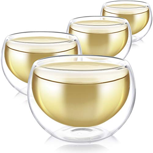 Teabloom Double Walled Cups - Set of 4 Insulated Glass Cups for Tea, Coffee, Espresso, and More - 5 oz / 150 ml - Classica Teacups Collection