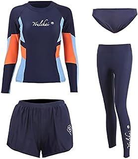 Rash Guard - 4 pcs Full Body Women's Rash Guard Swimsuit Long Sleeve Surf Suit UPF50+ UV Protect Sunscreen Swimwaer with B...