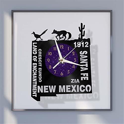 YH 1912 SANTA FE NEW MEXICO Reloj de pared de vinilo, reloj de vinilo con disco, arte de pared negro de 12 pulgadas para sala de estar, dormitorio (P), con reloj de pared de vinilo LED, reloj de pared