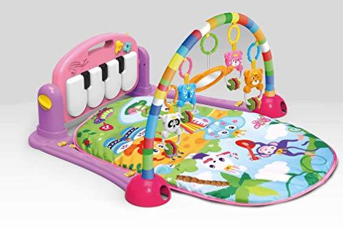 Musik Erlebnisdecke mit Spielbogen und Piano, Spieldecke, Krabbeldecke, Spielmatte, Baby Decke (rosa)