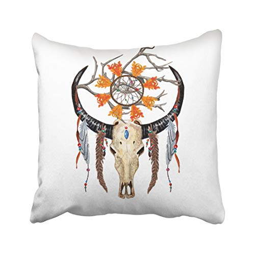 Moily Fayshow Watercolor Buffalo Skull Feathers Dreamcatcher Beaded Ribbons Holy Tree Branch Pillowcase Throw Cushion Cover 40X40 Cm