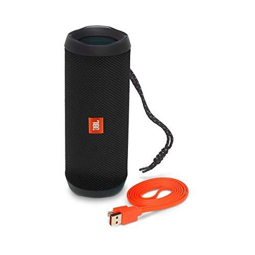 JBL Flip 4 Black Enceinte Portable Robuste - Étanche IPX7 pour Piscine & Plage - Autonomie 12 hrs - Qualité Audio Bluetooth, Noir