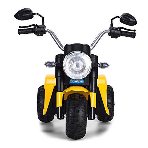 COSTWAY Correpasillos Moto Eléctrico Infantil con Batería de 6V Mini Vehículos Eléctricos para Niños Juguete 57x72x56 Centímetros (Amarillo)