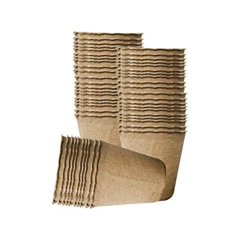 ASDFF Macetas de turba de 10/50/100 Uds para plántulas, Kit de Bandeja de Inicio de Semillas de jardinería, macetas de Inicio de Plantas biodegradables, 6 CM / 8 CM