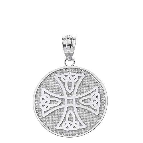 Fine 10k White Gold Infinity Knot Celtic Cross Medallion Charm Pendant
