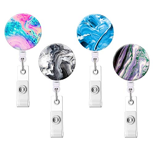 Nurse Badge Reel Retractable ID Badge Holder Reels with Alligator Clip Name Decorative Badge Reel Clip on Card Holders (Abstract Marble / 4 Pack)