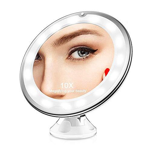 Gobesty Kosmetikspiegel LED Beleuchtet mit Saugnapf, 10X Vergrößerung LED beleuchtet Kosmetikspiegel 360° Schwenkbar Makeup Spiegel für Zuhause und Unterwegs (Weiß)