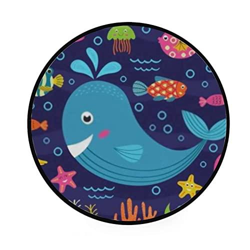Alfombra redonda para gatear, animales marinos, alfombra de piso para sala de estar, lavandería, sala de juegos, 122 cm, lavable