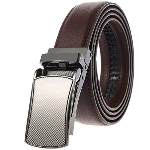 Click Belts for Men Leather as Seen On TV Brown Black Ratchet Strap with Open Belt Buckle Adjustable