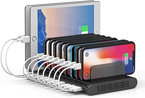 Alxum 10 usb porte stazione ricarica cellulari con divisori staccabili, 60W caricatore usb multiplo, Carica fino a 10 telefoni cellulari contemporaneamente, Nero