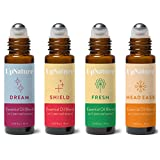 Wellness Essential Oil Roller Set - Migraine Relief, Thieves Oil, Sweet Dreams, Citrus Essential Oil...
