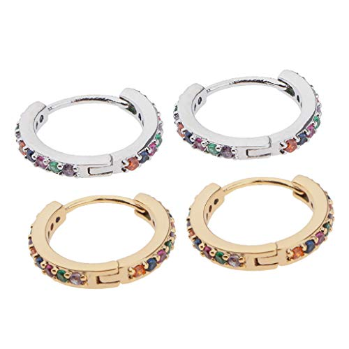 kowaku 4X Men Hoop CZ Cubic Zirconia Lobes Earrings Huggie Piercing Earrings Gift