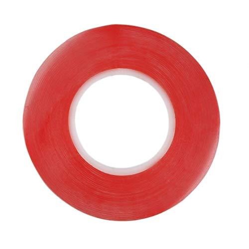 Candyboom Cinta de acrílico Adhesiva Transparente Transparente de Doble Cara Resistente al Calor de Doble Cara Resistente a la Humedad de Doble Cara de 25 m.