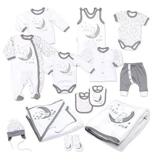 Baby Sweets Baby Erstausstattung Unisex in Weiß Grau im Motiv: A Star is Born als Baby Set mit 14 Teilen für Neugeborene & Kleinkinder für die Größe: Newborn (56)