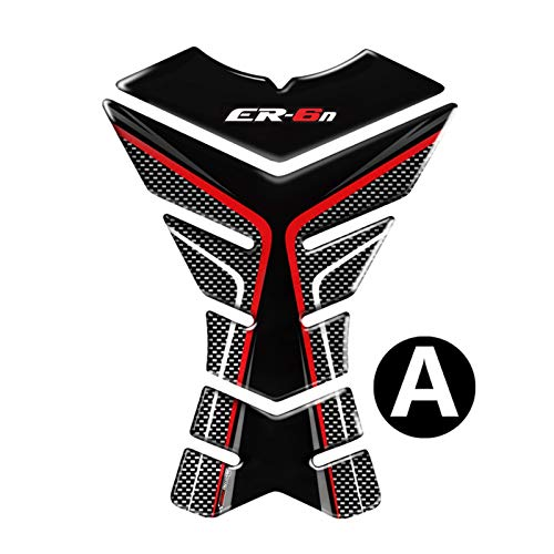 XIAOZHIWEN Carbon-3D-Look-Motorrad-Behälter-Auflage-Schutz-Abziehbild-Aufkleber-Fall for Kawasaki ER6N ER6N Behälter Universal (Color : A)