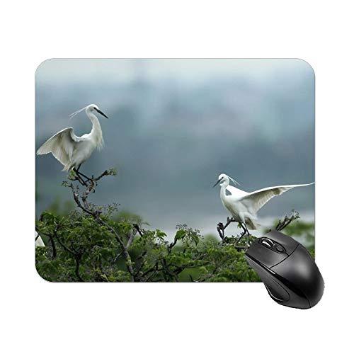 Alfombrilla de ratón para juegos 2 grúas blancas de escritorio y portátil 1 paquete de 30 x 25 x 2 cm.