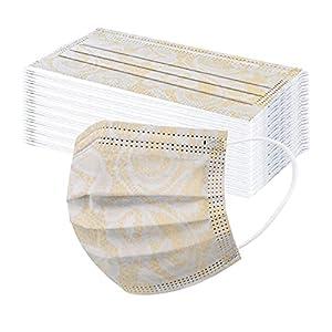 DerberDis 50 Pezzi per Mascherine Adulti Protezione per Il Viso USA e Getta 3 Strati Colorate Pizzo Stampa Tessuto Cotone Antipolvere Visiera Bocca Faccia Adatto Comfort Traspirante