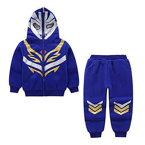 DTZW Sudadera con capucha para niños de manga larga casual con pantalones largos, cómoda y transpirable (color: azul, tamaño: 130)