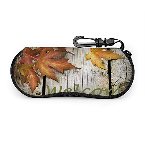 SDFGJ Estuche para anteojos Madera de hoja de arce con estuc