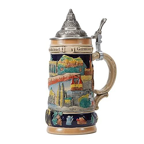 Amoy-Art Jarra de Cerveza Alemana Beer Stein Mug Deutschland Panorama de Berlin para Regalos Giftbox 0.6Litre