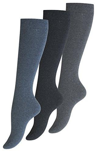 Yenita 3 Paar Damen Kniestrümpfe Uni, Baumwolle (39/42, Jeansblau)