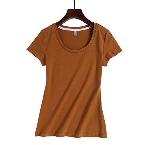 Camiseta para Mujer, Cuello Redondo, Delgado, de Manga Corta, Puro algodón, Color Puro, Salvaje, Delgado, Superior, Verano