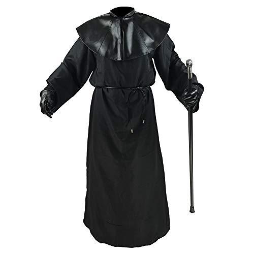 Absolute Vibe Plague Doctor Costume Halloween Medieval Monk Priest Renaissance Cosplay Cloak Robe Costume (M) Black
