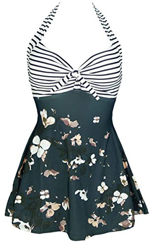 COCOSHIP Black White Striped & Bloom Floral Sailor Swimsuit Retro One Piece Skirtini Cover Up Bathing Suit Swimdress M(US8)