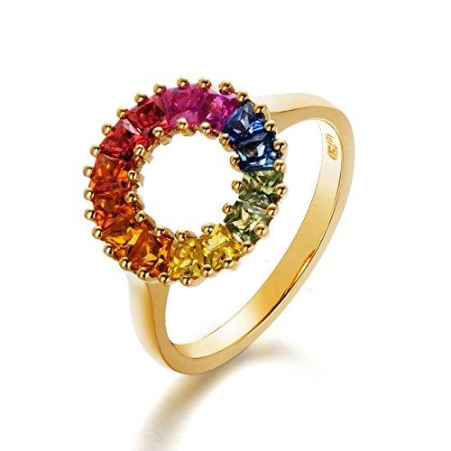 Daesar Anelli in Oro 18K per Donne Arcobaleno Pietra Preziosa Fidanzamento Cava Promessa Anello di Nozze Dimensione 10