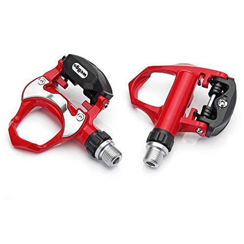 Wellgo - Pedal de bloqueo automático para bicicleta de carretera (rojo)