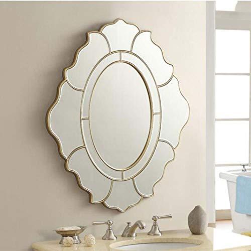 Z-Mirror Espejo Biselado Colgante de Pared Ovalado, diseño Floral Decorativo, Marco Curvo, Elegante Espejo de tocador para baño, Acabado Dorado, 29.9 × 33.8 Pulgadas
