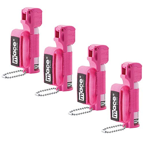 Mace Brand Pepper Spray- Police Strength OC Pepper Formula, UV Detection Dye, Adjustable Hand Strap, and Key Chain, Sport Style, Hot Pink, for Women, 4-Pack