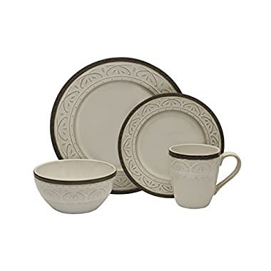 Pfaltzgraff 5217018 Promenade Scrool 16-Piece Dinnerware Set, Service for 4