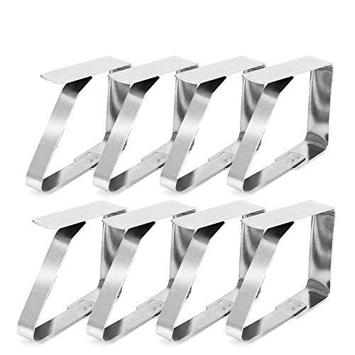 MELARQT Tischtuchklammern, Tischtuchklammer aus Edelstahl, 8 Stück Tischtuch Clips, Tischdeckenhalter, Klammer zum Befestigen der Tischdecke Deckenklammer Tuchklammer Klemme 5 x 4 cm