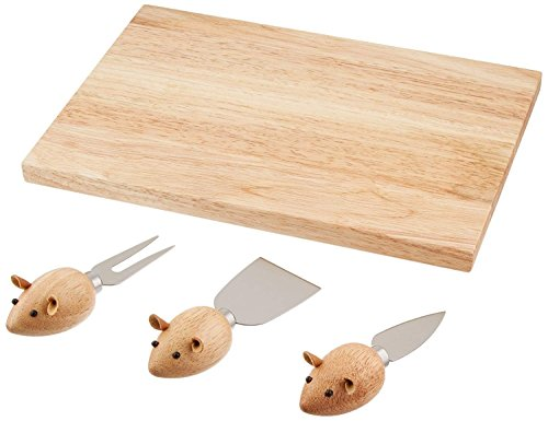 Kikkerland Rubberwood Stainless Steel Mouse Cheese Board, Set of 4