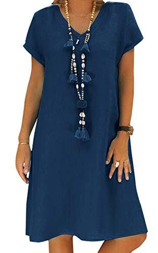 Yidarton Sommerkleid Leinen Kleider Damen V-Ausschnitt Strandkleider Einfarbig A-Linie Kleid Boho Knielang Kleid Ohne Zubehör(Dunkelblau,S)
