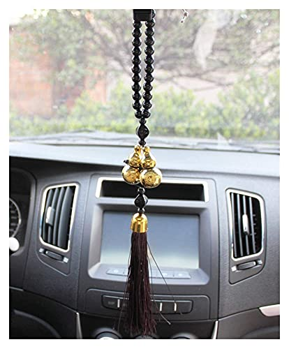 TTlivebos Car Rear View Mirror Pendant Car Ornament Pendant Golden Double Gourd Buddha Beads Auto Interior Rearview Mirror Gear Decoration Accessories Trim Gifts ZMLL