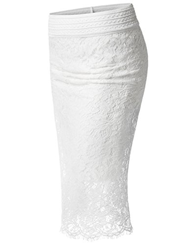 TheLees (NKWLSK63 Womens Elastic Waist Floral Lace Scallop Midi Pencil Skirt White US XL(Tag Size 2XL)