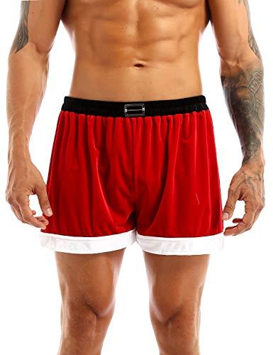 Choomomo Men's Red Velvet Christmas Holiday Boxer Shorts Santa Claus Cosplay Costume Underwear Red#2 Medium