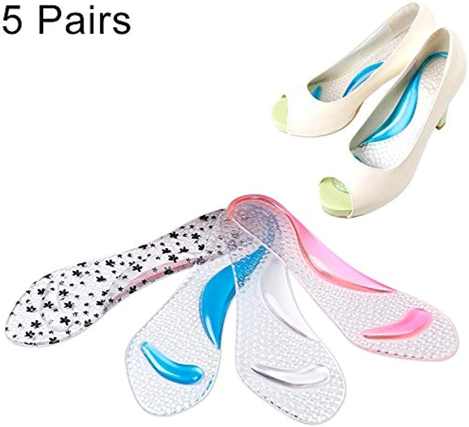 Anstorematealliance Outdoor&Sports shoes 5 Pair Women Silicone Gel Massage Arch Support Insoles Orthotic Flatfoot Prevent Foot Cocoon High Heels shoes Pad,Random color Delivery