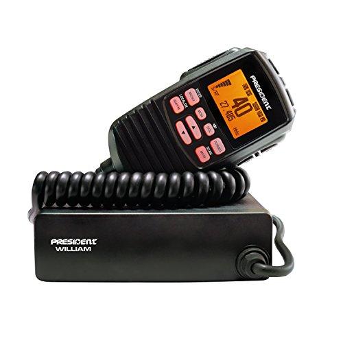 CB President William ASC-Radio mit automatischer Rauschsperre, 40 UKW-Kanälen, VOX-, lokalen DX-, ANL-, NB- und Hi-Cut-Filtern, CTCSS und DCS