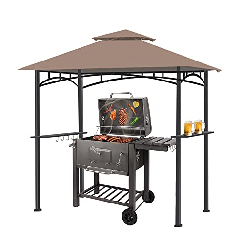 bigzzia BBQ Gazebo Double Tiered UV Resistant 2.4 * 2.6 Meters Grill Shelter with LED Light for BBQ Party and Camping Picnic (Brown)