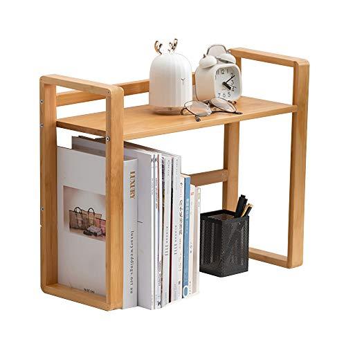 Scaffale da scrivania in bambù, organizer da scrivania, multiuso, per casa, ufficio, scrivania (M)