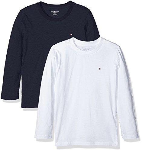 Tommy Hilfiger Cotton CN Tee LS Icon 2 Pack Maglietta, Multicolore (White/Navy Blazer 103), 104 (Taglia Produttore:4-5) Bambino