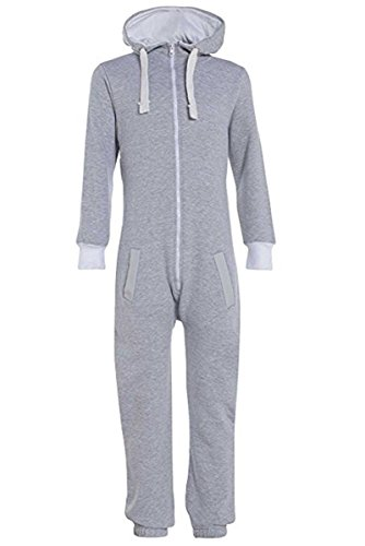 MyMixTrendz MyMixTrendz Unisex Jungen Kinder Plain Strampelanzug Zip UP All In One Kapuzen Jumpsuit 7-13 (7-8, Geay)